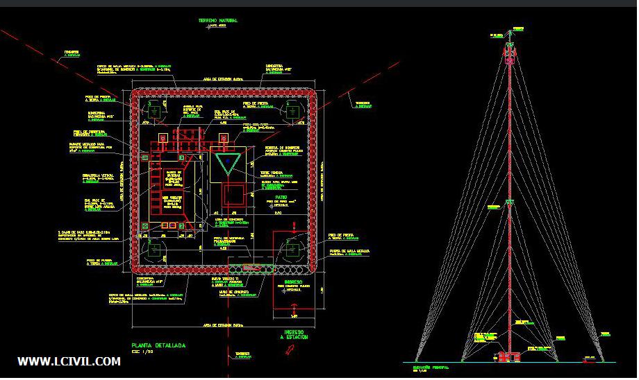 نقشه سازه کابلی دکل