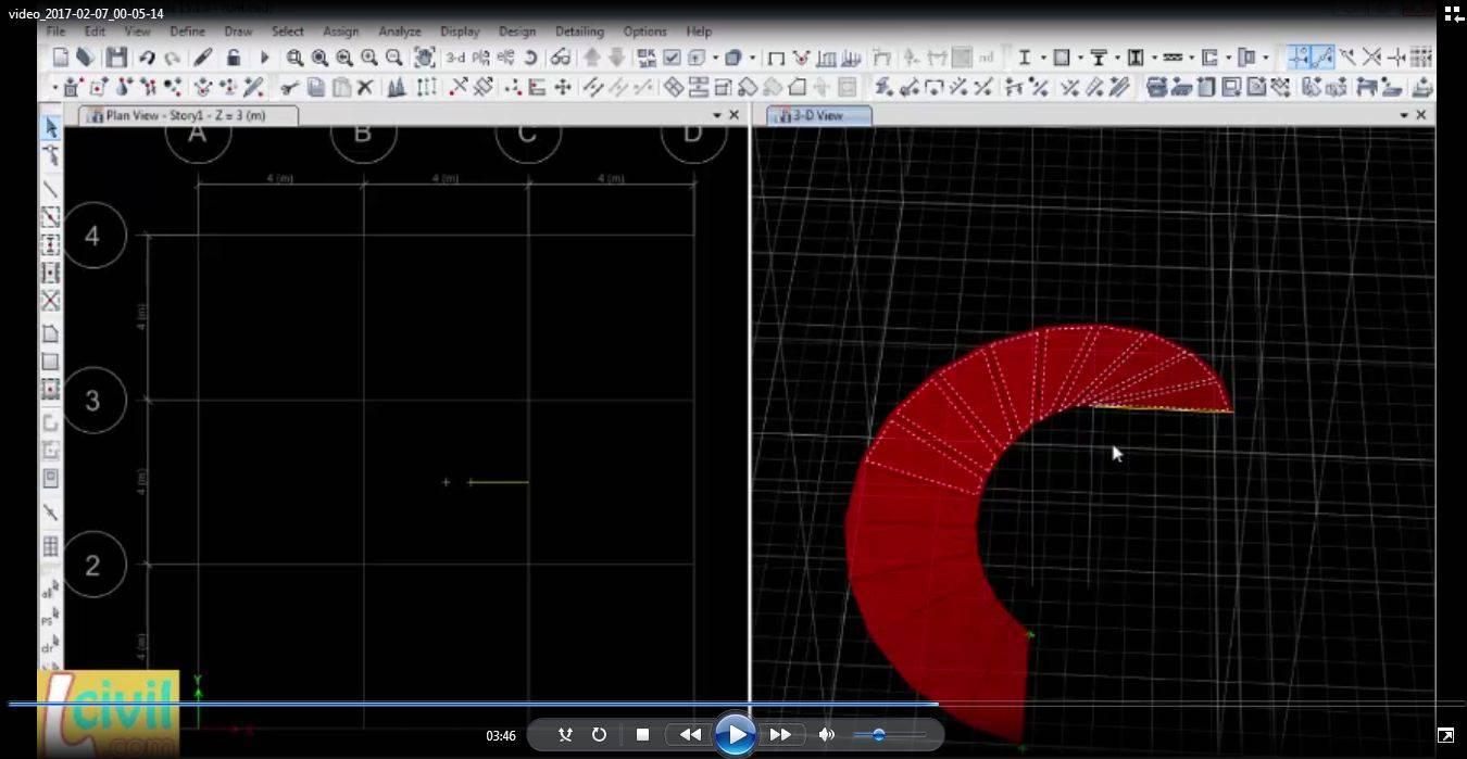 آموزش مدلسازی رمپ دایره ایی و پله دوار در ایتبس