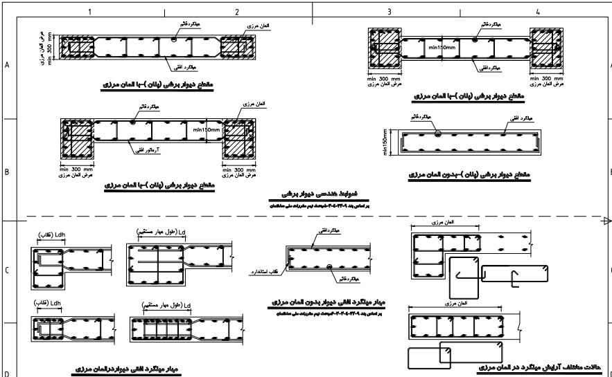راهنمای ترسیم نقشه سازه های بتنی | ضوابط و دتایل های متداول