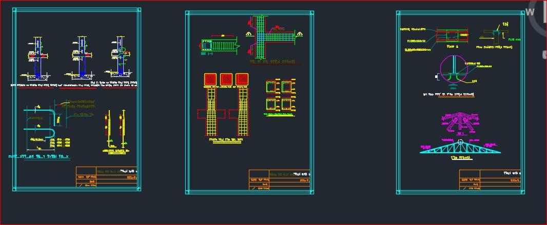 نقشه سازه بتنی | پروژه سازه بتنی با سقف شیروانی