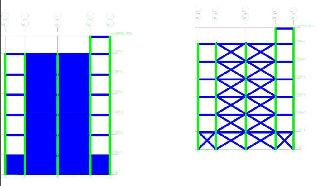 مقایسه بادبند بتنی ضربدری با دیوار برشی در سازه های بتن آرمه