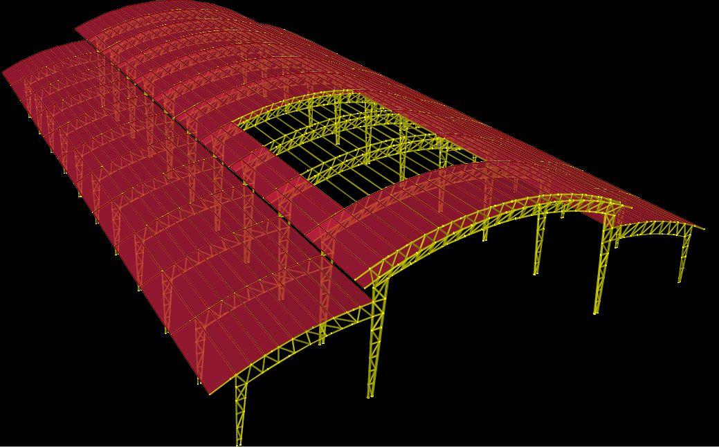 مدلسازی سوله با سقف خرپایی